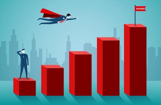 スーパーヒーローのビジネスマンは、バーグラフの赤い旗のターゲットに飛んでいます。 Premiumベクター