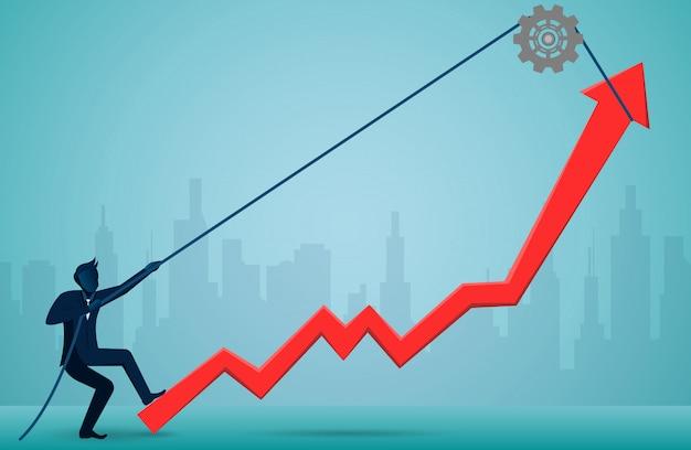 ビジネスマンはロープを使用して赤い矢印を引っ張り、究極の成功目標に方向を変えます Premiumベクター