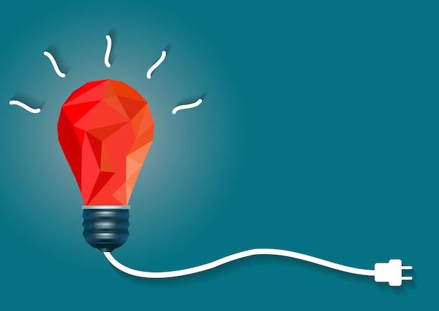 青の背景に赤の電球と創造的なアイデア Premiumベクター