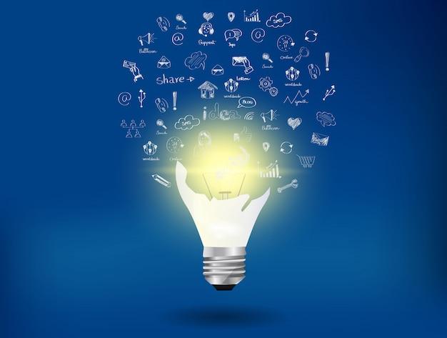 Лампочка и значок на фоне синего Premium векторы