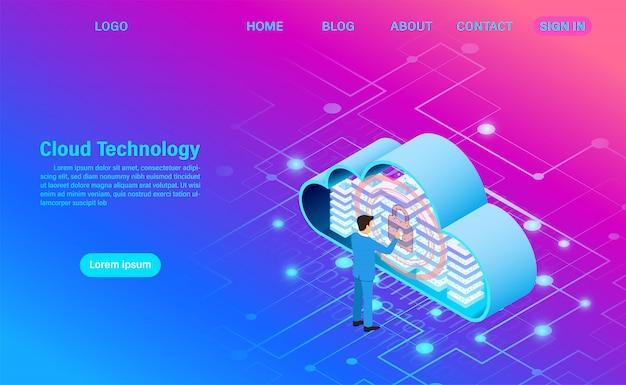 最新のクラウドテクノロジーとネットワーキング。オンラインコンピューティングテクノロジー。大きなデータフロー処理の概念、インターネットデータサービスの図 Premiumベクター