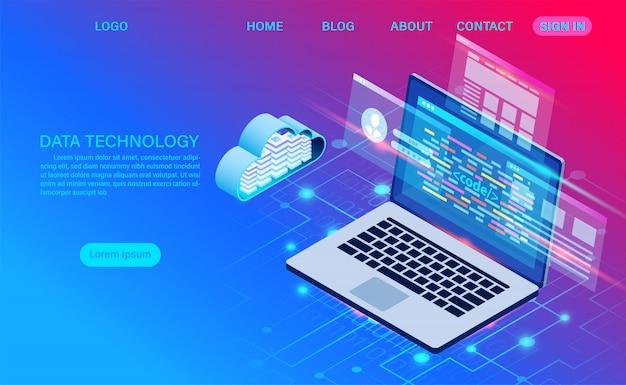 データセンターサーバールームクラウドストレージテクノロジーとビッグデータ処理データセキュリティの保護。デジタル情報。等尺性。漫画 Premiumベクター