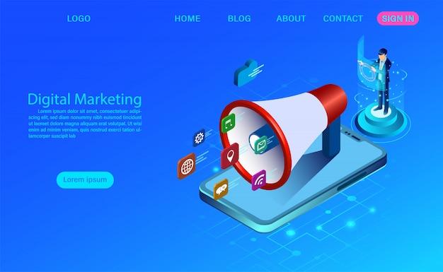 バナーとウェブサイトのデジタルマーケティング。ビジネス分析、コンテンツ戦略および管理。アイコンとデジタルメディアキャンペーンフラットイラスト Premiumベクター