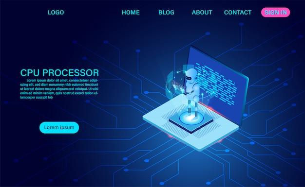 人工知能ロボットのランディングページ Premiumベクター