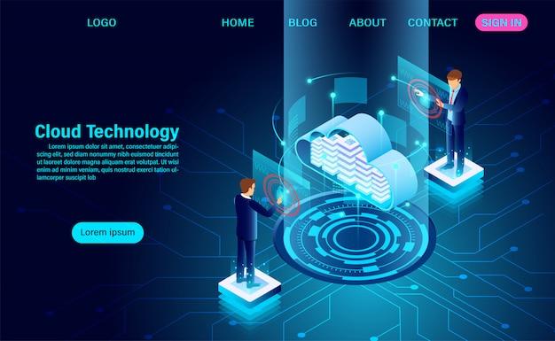 Целевая страница технологии данных Premium векторы