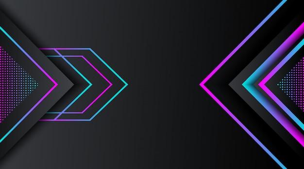 グラデーションネオンキラキラ幾何学的形状と黒の背景 Premiumベクター