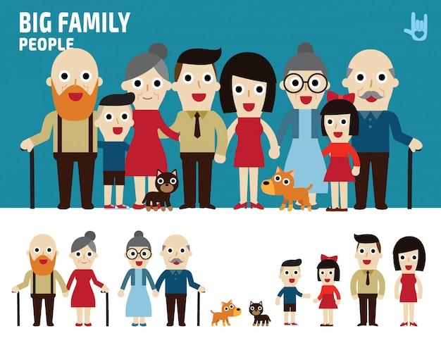 Большие семейные персонажи Premium векторы