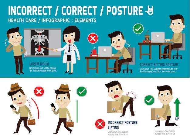 正しい、間違った姿勢のインフォグラフィック要素、座っている、持ち上げる、歩く、ヘルスケアの概念 Premiumベクター
