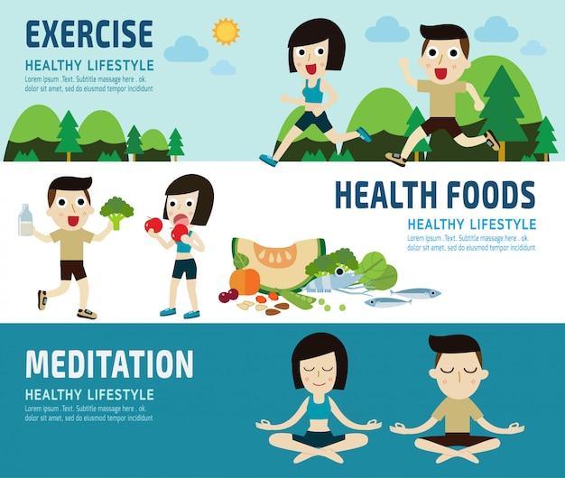 運動健康食品バナーヘッダー Premiumベクター