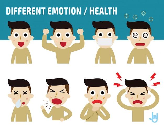 Человек сталкивается, показывая разные эмоции. Premium векторы