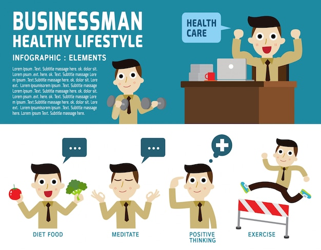 ビジネスマンの健康的なライフスタイルの図 Premiumベクター
