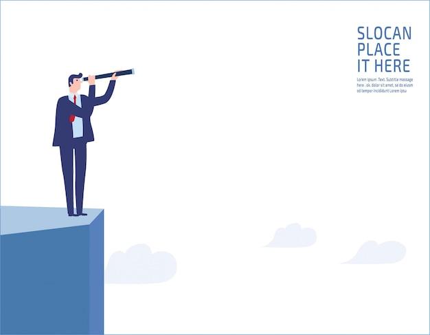 崖の上に立っている実業家。将来のビジネスビジョンに単眼を通して見る Premiumベクター