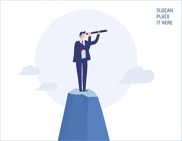 山の上に望遠鏡を通して見るビジネスマン Premiumベクター