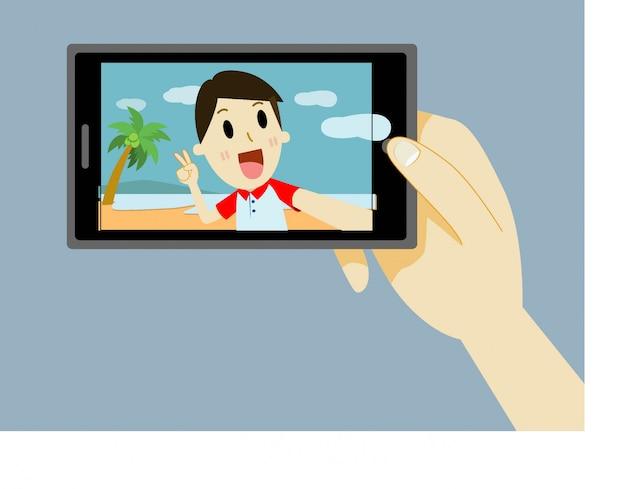 Человек мультфильм, принимая автопортрет с смартфона Premium векторы