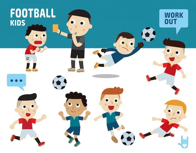 スポーツサッカーのコンセプトです。子供たちは様々な衣装やアクションポーズを取ります。 Premiumベクター