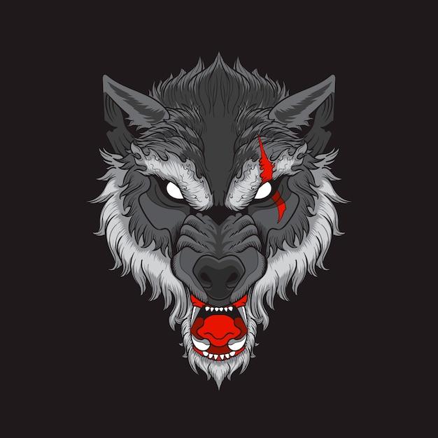 Голова волка со шрамом на черном фоне Premium векторы