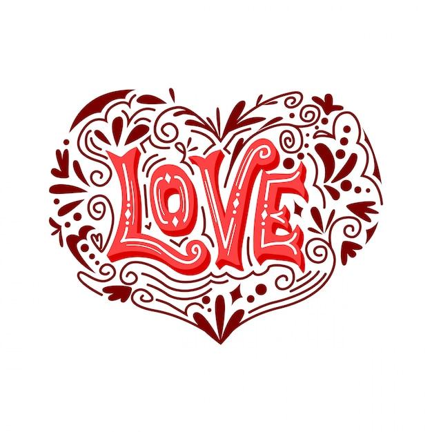 Любовь типография векторный орнамент Premium векторы