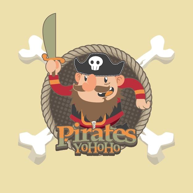 かわいい海賊漫画のベクトルの背景 Premiumベクター
