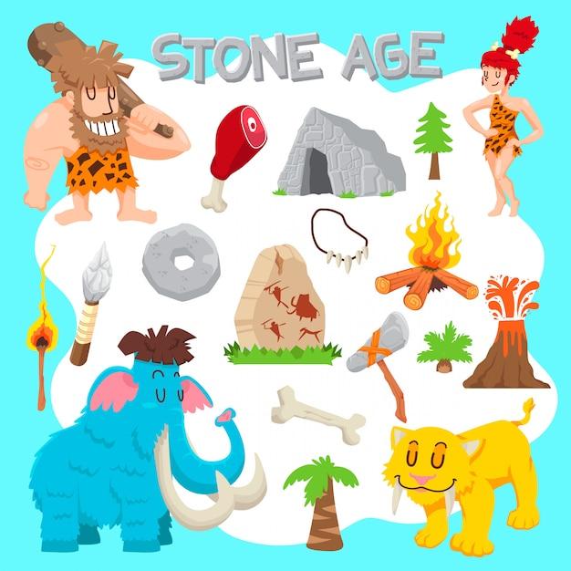 Набор векторных каменного века Premium векторы