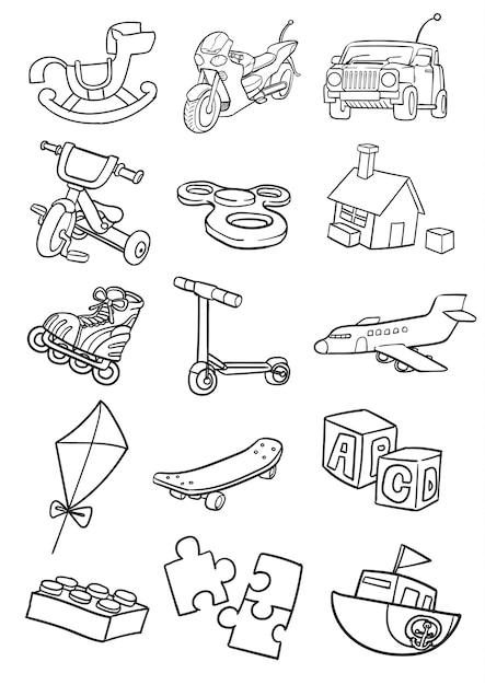 Набор игрушек каракули Premium векторы