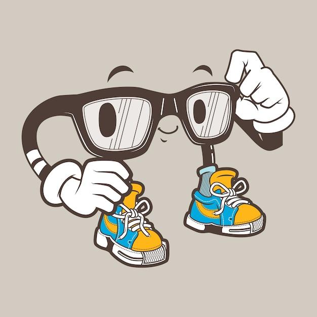 クールオタク眼鏡マスコット Premiumベクター