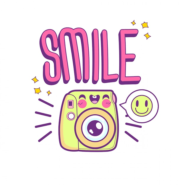 Симпатичный стикер камеры смайлик Premium векторы