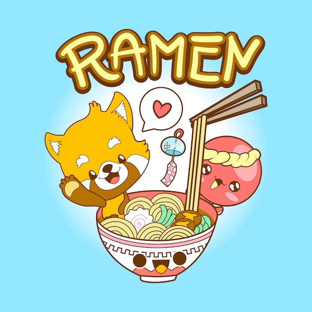 日本のかわいいカワイイレッドパンダとタコがラーメンを食べる Premiumベクター