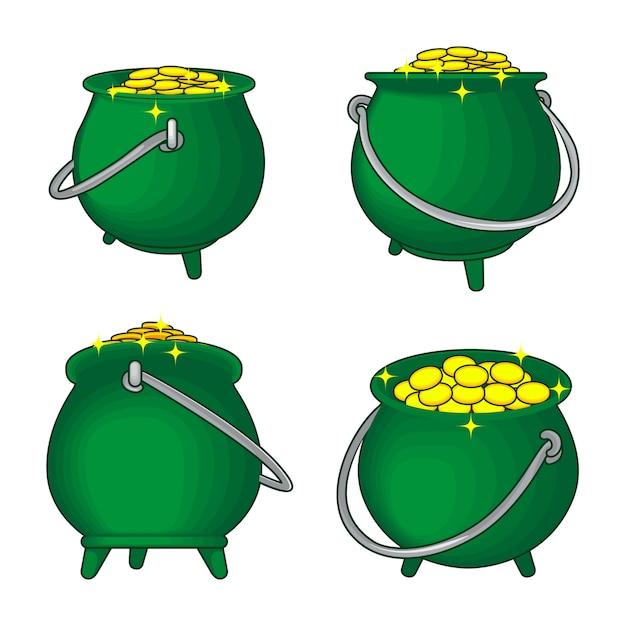 Котел или горшок монет Premium векторы