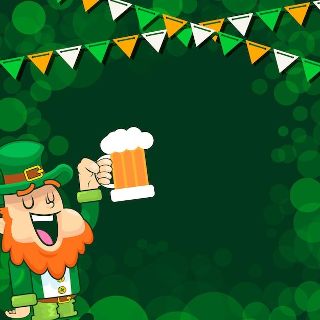 Лепрекон приветствует пиво на праздновании дня святого патрика Premium векторы