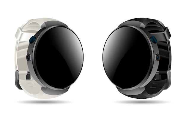 リアルなスマートウォッチ。デジタルスポーツの腕時計。 Premiumベクター