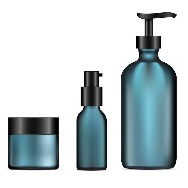 ガラス化粧品ボトル。ポンプディスペンサー、クリームジャー Premiumベクター