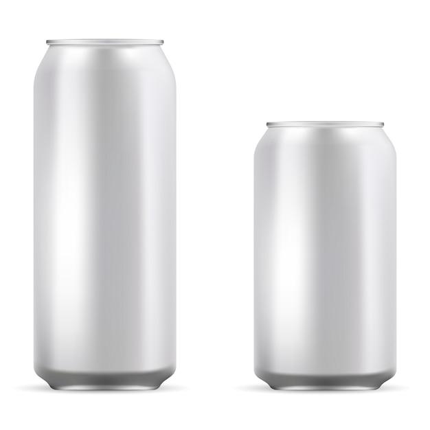 アルミブランク缶ビール、ソーダ、レモネードの設定 Premiumベクター