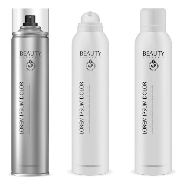 エアロゾル缶。アルミスプレーボトル Premiumベクター