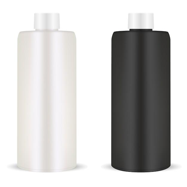Бутылка шампуня. пластиковый пакет. косметический Premium векторы