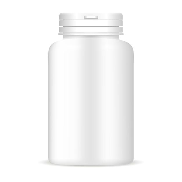 白い色の薬瓶。医薬品パッケージ Premiumベクター
