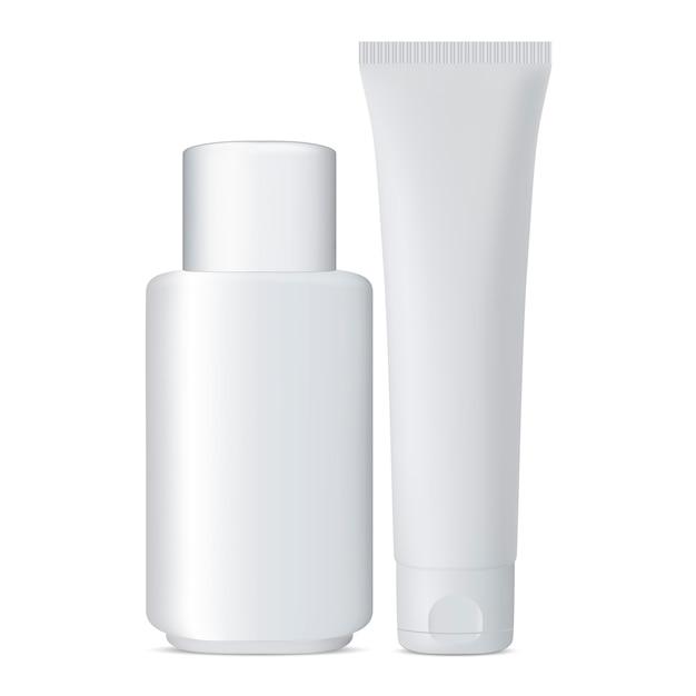 チューブと化粧品ボトルセットホワイトジャー Premiumベクター