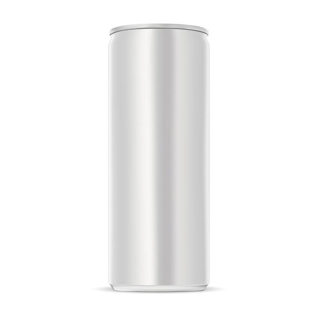 Алюминиевая банка. тонкий энергетический напиток олова. Premium векторы
