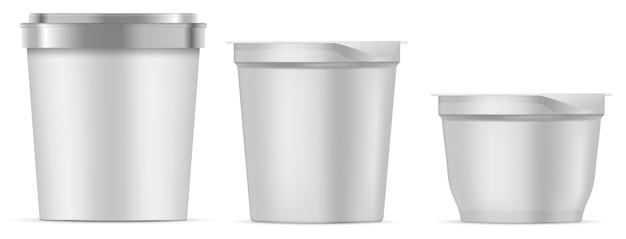 Пакет мороженого. пустая чашка с ведром для еды Premium векторы