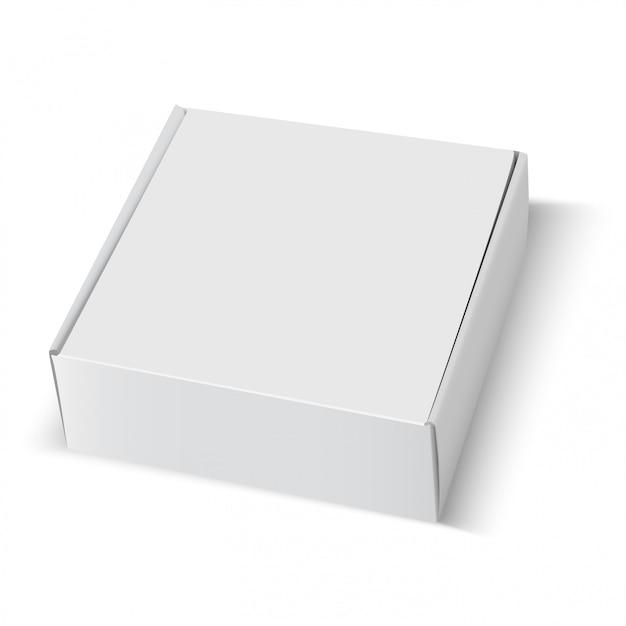 ボックス空白の白い段ボールパッケージの正方形 Premiumベクター