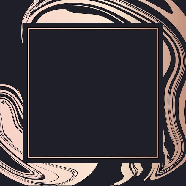 ゴールデンフレーム流体アートベクトル幾何学的なエレガントな背景のカバーカード Premiumベクター