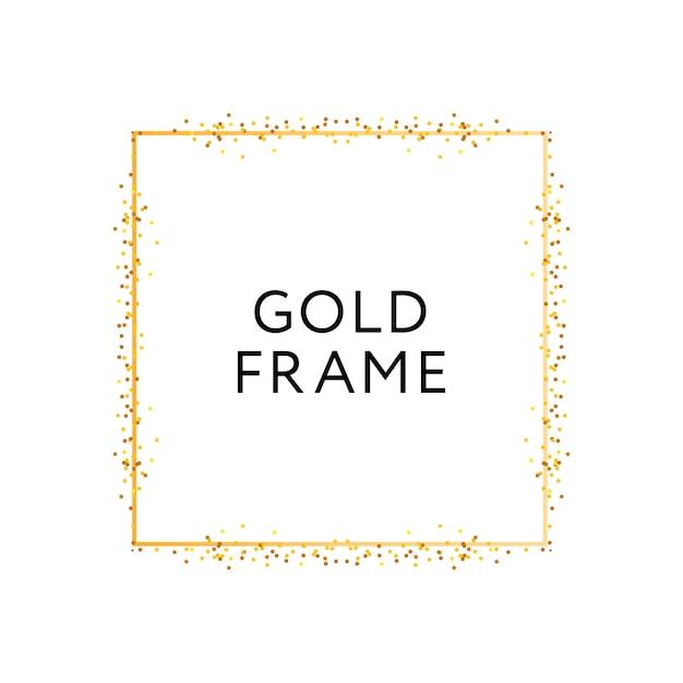 ゴールドフレームの幾何学的形状のミニマリズムベクトルデザインバナー Premiumベクター