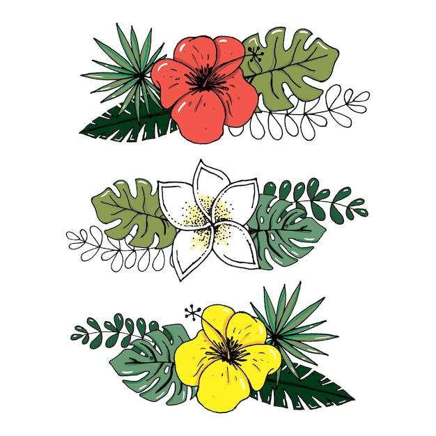 熱帯の葉と白い背景で隔離の花のベクトルのリアルなイラストセット。 Premiumベクター