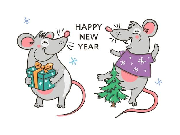 С новым годом с крысой Premium векторы