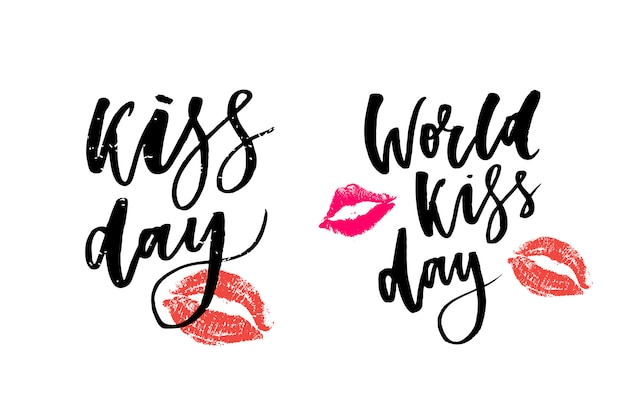 Всемирный день поцелуев Premium векторы