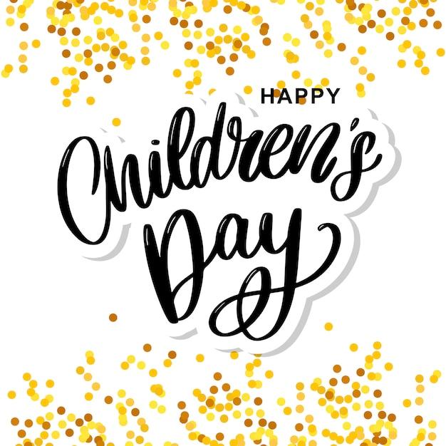Детский день векторный фон. счастливое детское звание. с днем защиты детей надпись. Premium векторы