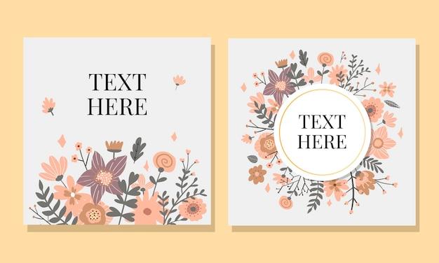 木製の上のカスタムサインと花のフレームとの結婚招待状。図。 Premiumベクター