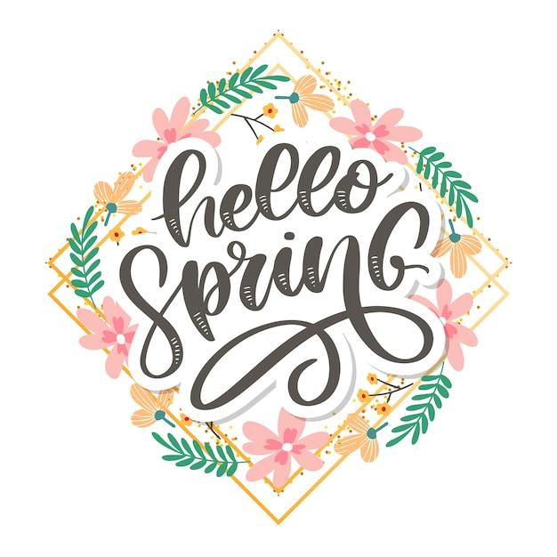 こんにちは春の花テキスト背景レタリングスローガン Premiumベクター