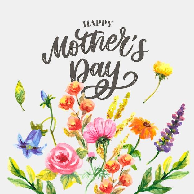母の日。水彩の春の花。芸術的な構成。 Premiumベクター