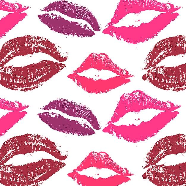 世界キスデー。パターン唇ポマード Premiumベクター