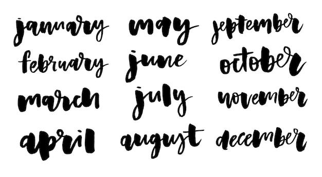 Рукописные названия месяцев Premium векторы